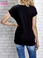 Czarny t-shirt z napisem YOU ARE STAR IN MY HEART z dżetami                                  zdj.                                  4