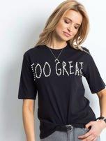 Czarny t-shirt z napisem z perełek                                  zdj.                                  1