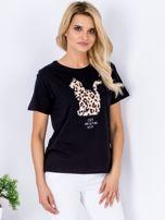 Czarny t-shirt z pluszowym kotem                                  zdj.                                  1