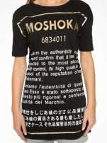 Czarny t-shirt z tekstowym nadrukiem i znakami chińskimi                                                                          zdj.                                                                         8