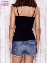 Czarny top basic na cienkich ramiączkach                                  zdj.                                  2