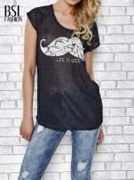 Czarny transparentny t-shirt z motywem moustache