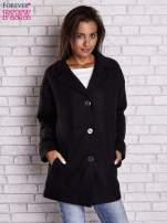 Czarny wełniany płaszcz z kieszeniami i kołnierzem                                  zdj.                                  2