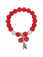 Czerwona Bransoletka koralikowa z zawieszką w kształcie wieży eiffla                                                                          zdj.                                                                         2