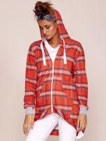Czerwona bluza w kratę z dłuższym tyłem                                  zdj.                                  5