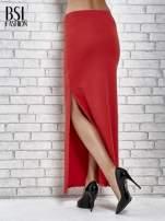 Czerwona długa spódnica maxi z rozporkiem                                  zdj.                                  4