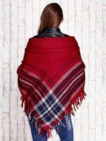 Czerwona dzianinowa chusta z frędzlami                                  zdj.                                  3