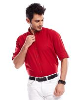 Czerwona koszula męska z podwijanymi rękawami                                  zdj.                                  1