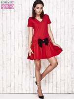 Ecru sukienka dresowa z kokardą z przodu                                                                          zdj.                                                                         2