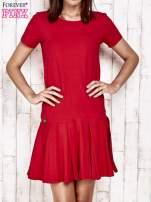 Różowa sukienka dresowa z kokardami z tyłu                                                                          zdj.                                                                         1
