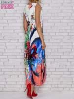 Czerwona sukienka maxi z trójkątnym dekoltem                                  zdj.                                  5