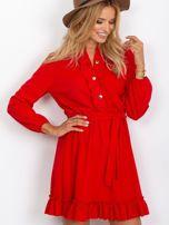 Czerwona sukienka z falbankami                                  zdj.                                  1