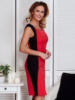 Czerwona sukienka ze złotym łańcuszkiem                                   zdj.                                  3