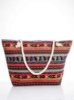 Czerwona torba plażowa w azteckie wzory                                  zdj.                                  1