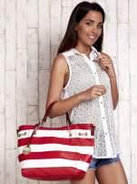 Czerwona torba shopper bag w pasy efekt saffiano                                  zdj.                                  1