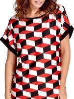 Czerwona tunika w przestrzenne geometryczne wzory                                                                          zdj.                                                                         6