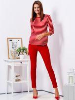 Czerwone dopasowane spodnie high waist                                   zdj.                                  4