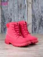 Czerwone jednolite buty trekkingowe damskie traperki ocieplane                                                                          zdj.                                                                         3
