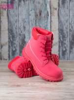 Czerwone jednolite buty trekkingowe damskie traperki ocieplane                                                                          zdj.                                                                         4