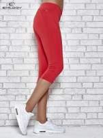 Czerwone legginsy 3/4 sportowe termalne z lampasami                                  zdj.                                  2