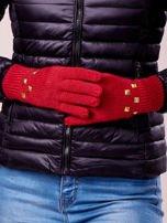 Kremowe rękawiczki z ćwiekami i ściągaczem                                                                          zdj.                                                                         3
