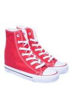 Czerwone sneakersy trampki damskie na koturnie                                                                          zdj.                                                                         2