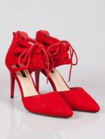 Czerwone zamszowe szpilki lace up z wiązaniem faux suede                                  zdj.                                  2