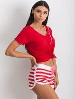 Czerwono-białe szorty Malleable                                  zdj.                                  3