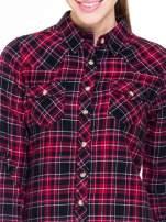 Czerwono-czarna koszula w kratę z kieszonkami                                  zdj.                                  6
