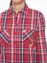 Czerwono-granatowa klasyczna koszula w kratkę z kieszeniami                                                                          zdj.                                                                         7