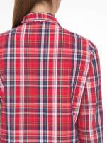 Czerwono-granatowa klasyczna koszula w kratkę z kieszeniami                                                                          zdj.                                                                         9