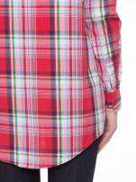 Czerwono-zielona klasyczna koszula w kratę z kieszeniami                                  zdj.                                  8