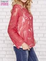 Czerwony ażurowy sweterk mgiełka z rozszerzanymi rękawami                                  zdj.                                  3