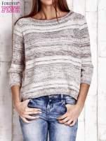 Czerwony dziergany sweter z rękawem 3/4                                                                          zdj.                                                                         1