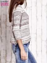Czerwony dziergany sweter z rękawem 3/4                                  zdj.                                  3
