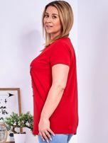 Czerwony t-shirt z błyszczącą gwiazdą PLUS SIZE                                  zdj.                                  5