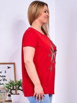 Czerwony t-shirt z błyszczącymi gwiazdami PLUS SIZE                                  zdj.                                  3