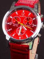 Czerwony zegarek damski z ozdobnym tachometrem