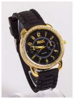 Damski zegarek z cyrkoniami oraz ozdobnym chronografem na dużej tarczy. Wygodny silikonowy pasek.