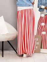 Długa spódnica maxi w biało-czerwone paski                                  zdj.                                  1