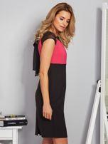 Dopasowana sukienka koktajlowa z szarfą czarno-różowa                                  zdj.                                  5