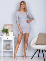 Dopasowana sukienka lace up w szeroki prążek jasnoszara                                  zdj.                                  4