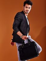 Dwukomorowa skórzana torba męska na ramię czarna                                  zdj.                                  4