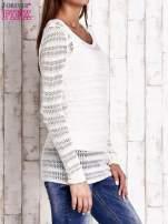 Ecru ażurowy dziergany sweter                                                                          zdj.                                                                         3