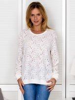 Ecru bluza z ażurowym motywem kwiatowym                                  zdj.                                  2