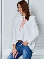 Ecru bluza z kapturem i wstążką                                  zdj.                                  3