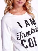 Ecru bluza z napisem I AM FREAKING COLD                                  zdj.                                  5