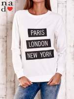 Ecru bluza z napisem PARIS LONDON NEW YORK