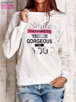 Szara bluza z napisem SMILE HAPPINESS LOOKS GORGEOUS ON YOU                                                                          zdj.                                                                         1
