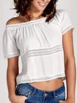 Ecru bluzka koszulowa z ażurowymi przeszyciami                                  zdj.                                  5